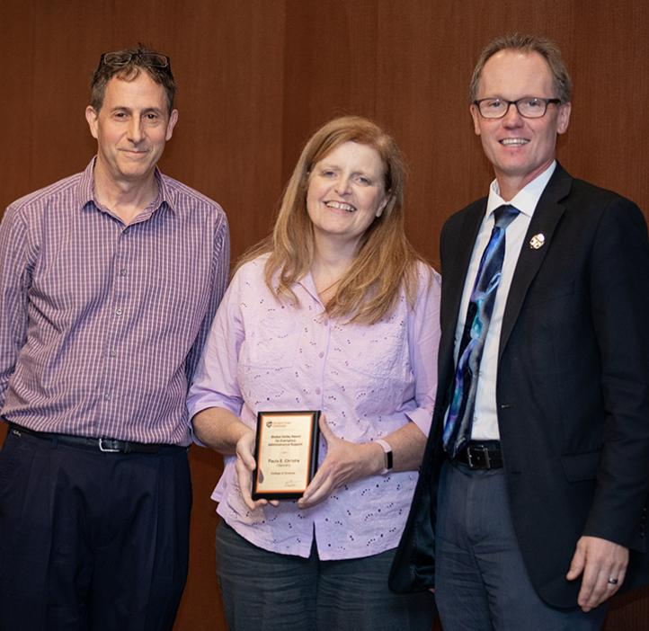 Paula Christie with Chemistry Head Michael Lerner and Dean Roy Haggerty