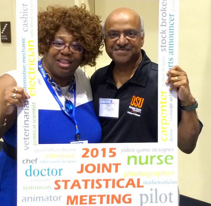 Dean Sastry Pantula poses with Patricia Page, a staff manager at NSF's Division of Mathematical Sciences