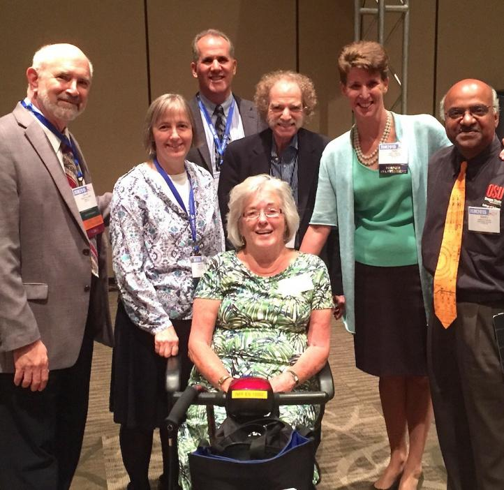 Seven ASA past and current presidents with Sastry Pantula in lobby