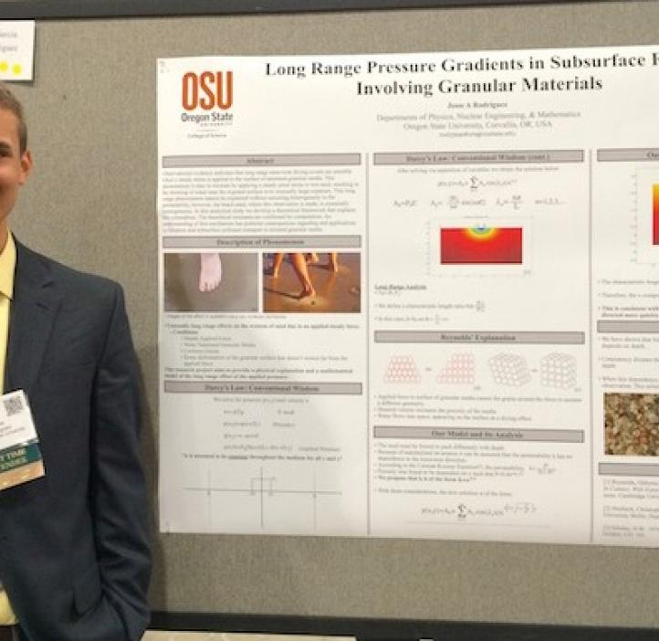 Jesse Rodriguez presents his research on long-range pressure gradients in subsurface flows involving granular materials