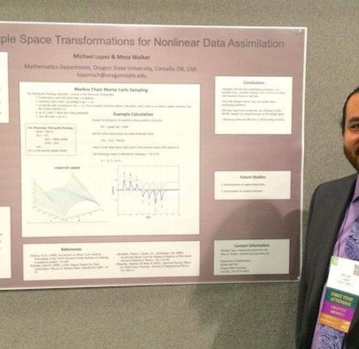 """Mathematics major Michael Lopez presents his research, """"Dynamic Sample Space Transformations for Nonlinear Data Assimilation."""""""