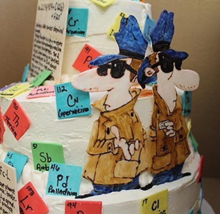 chemistry themed cake