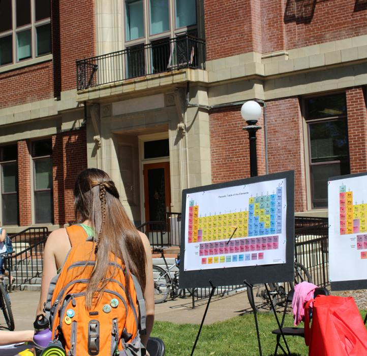 students shooting periodic table with nerf gun in front of Kidder Hall