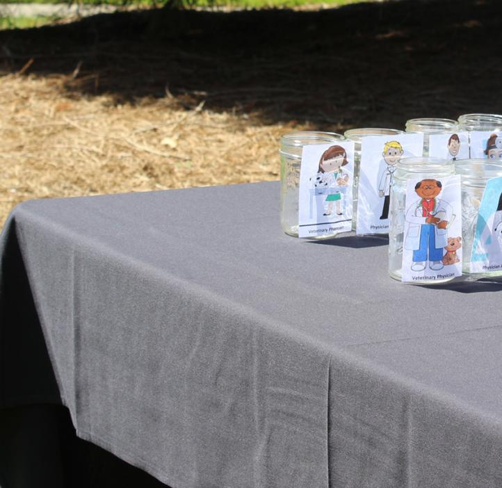 jars with cartoons on table outside Kidder Hall