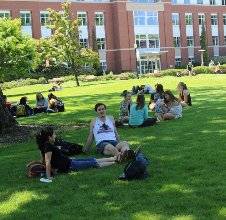 students sitting in field