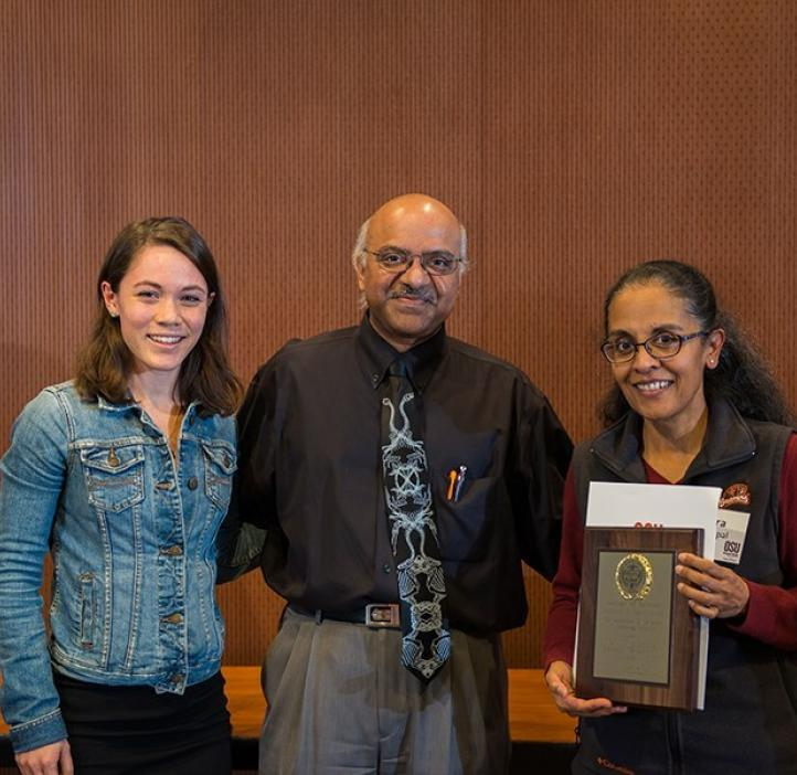 Fred Horne award winner Indira Rajagopal and her student Hayati Wolfenden with Dean Sastry Pantula