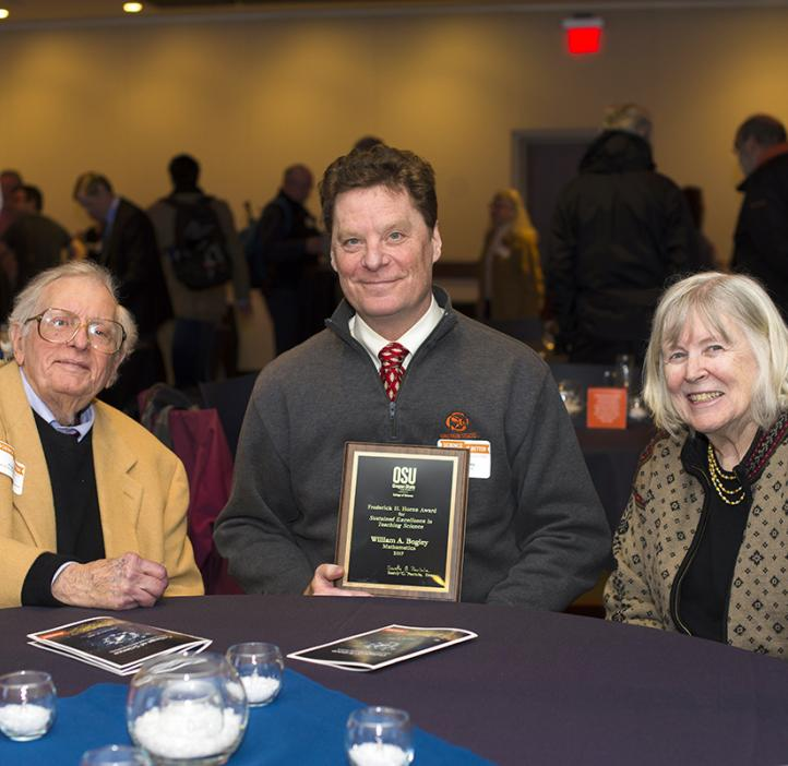 Bill Bogley, winner of the 2017 Frederick H. Horne Award for Sustained Excellence in Teaching Science with Fred and Clara Horne