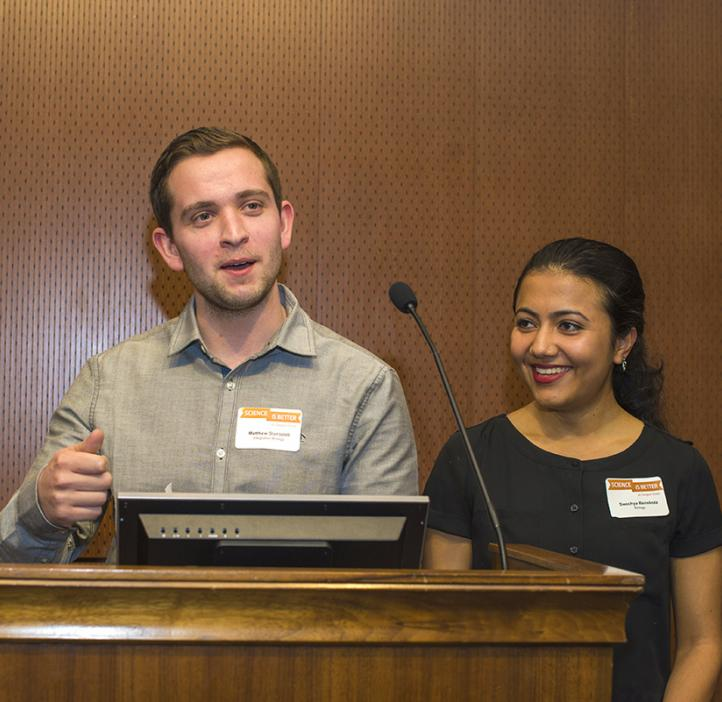 Integrative Biology students Matthew Staropoli and Swechya Banskota present the 2017 Loyd F. Carter Award for Outstanding and Inspiration Teaching in Science (Undergraduate)
