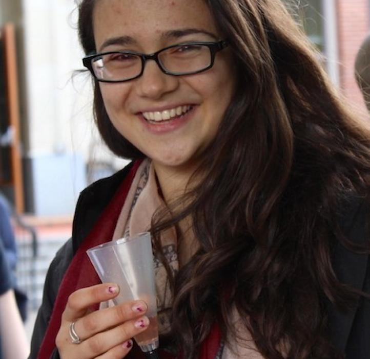 Arianna Kahler-Quesada enjoying beverage
