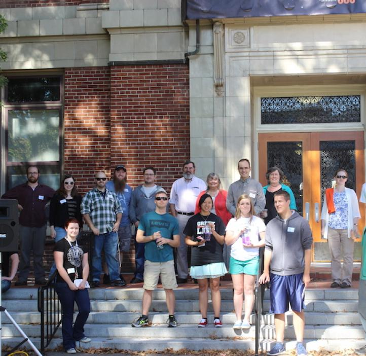 chemistry students with faculty on steps of Kidder Hall