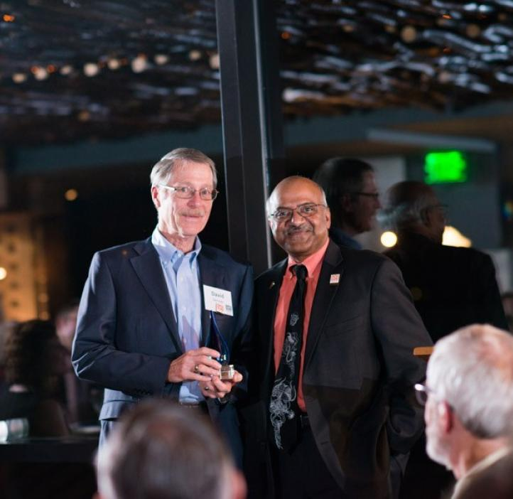 David Vernier, receiving Distinguished Alumni Award from Sastry Pantula