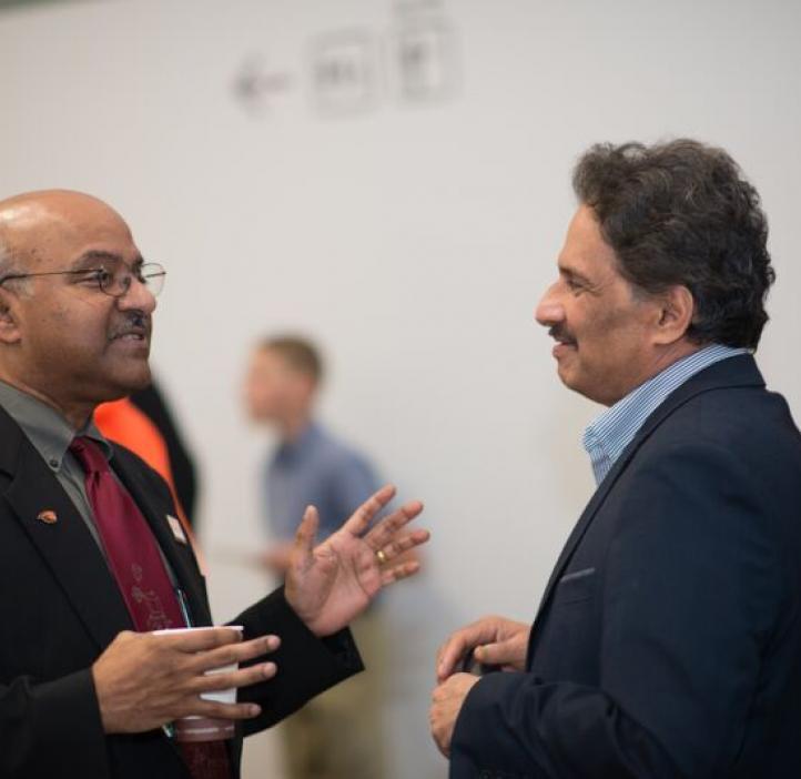 Sastry Pantula talking with Mas Subramanian in lobby