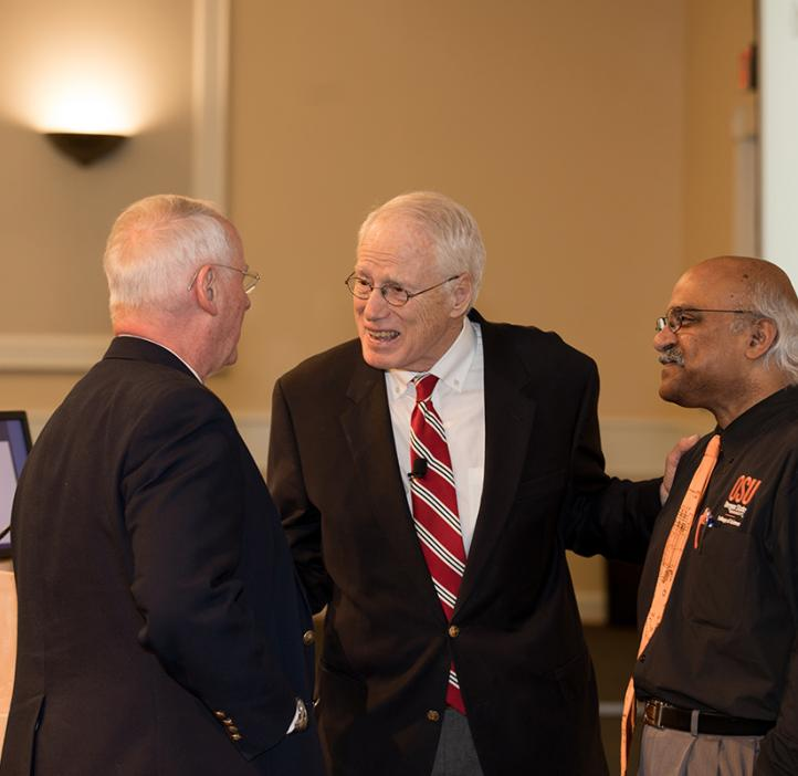 OSU President Ed Ray, William Kirwan, and Science Dean Sastry Pantula on stage
