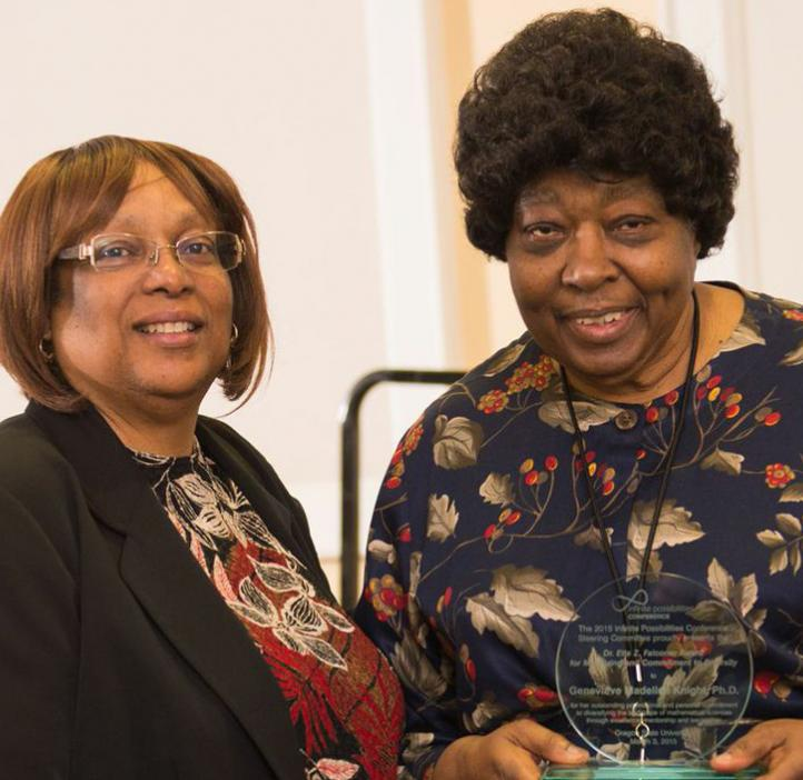 Dr. Genevieve Knight receiving the Dr. Etta Z. Falconer Award for Mentoring & Commitment to Diversity