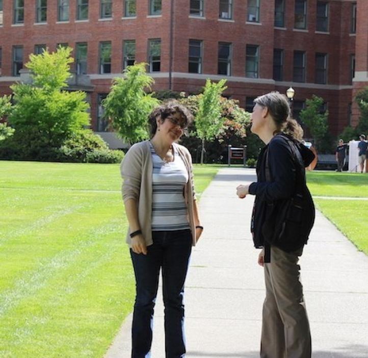 Vivian Perez talking with Julie Greenwood