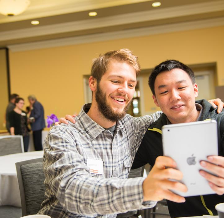 Justin Frost and Tony Duong take a selfie for the OSU Science instagram