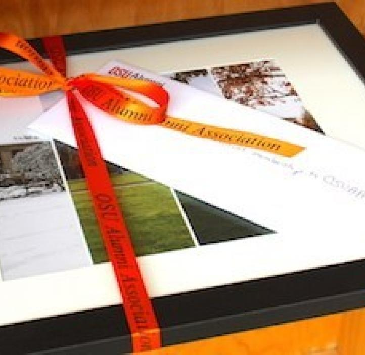 framed senior gift display wrapped in bow