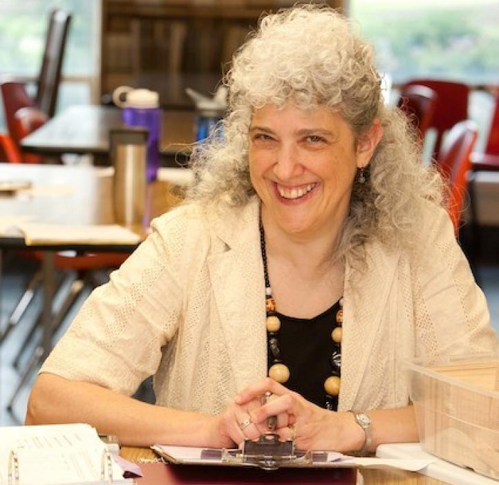 Marie Franzosa, Mathematics professor sitting in classroom