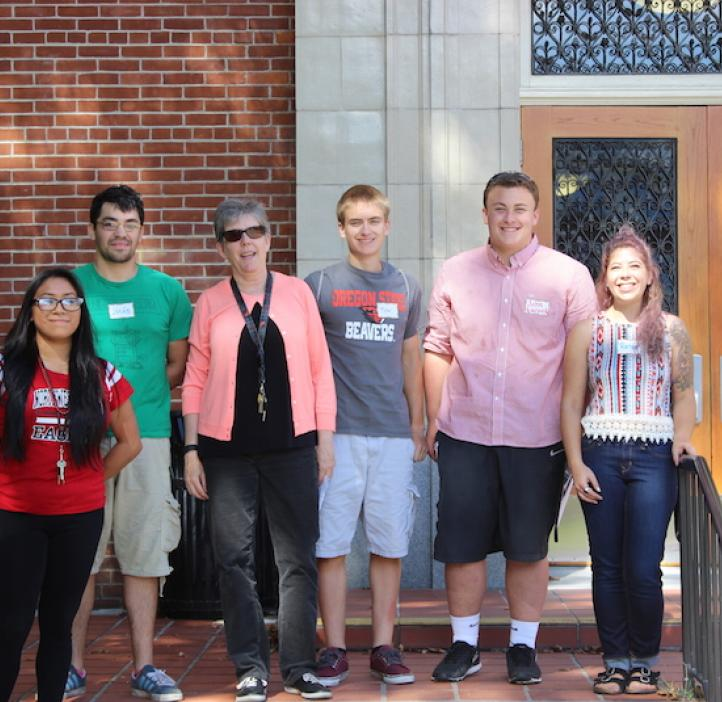 physics students and faculty outside Kidder Hall