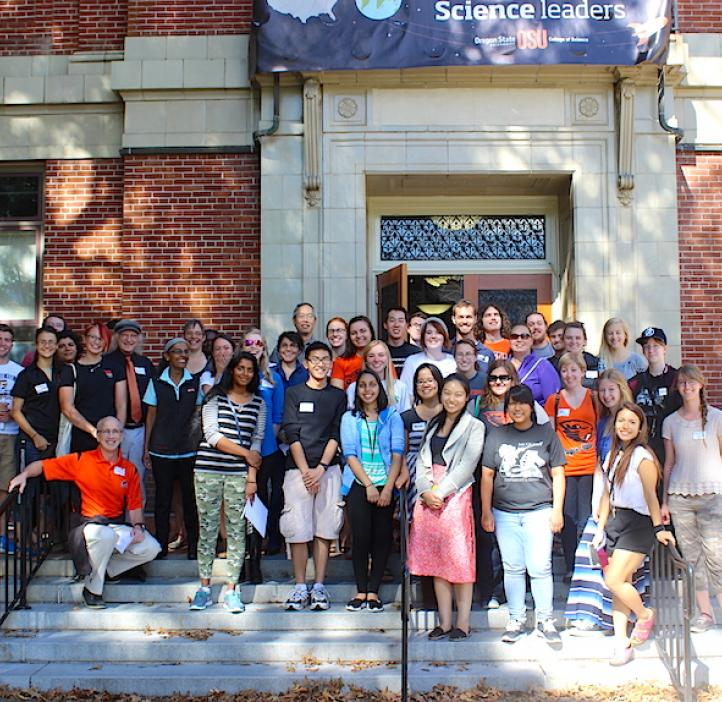 Biochemistry and Biophysics students and faculty standing on the steps of Kidder Hall