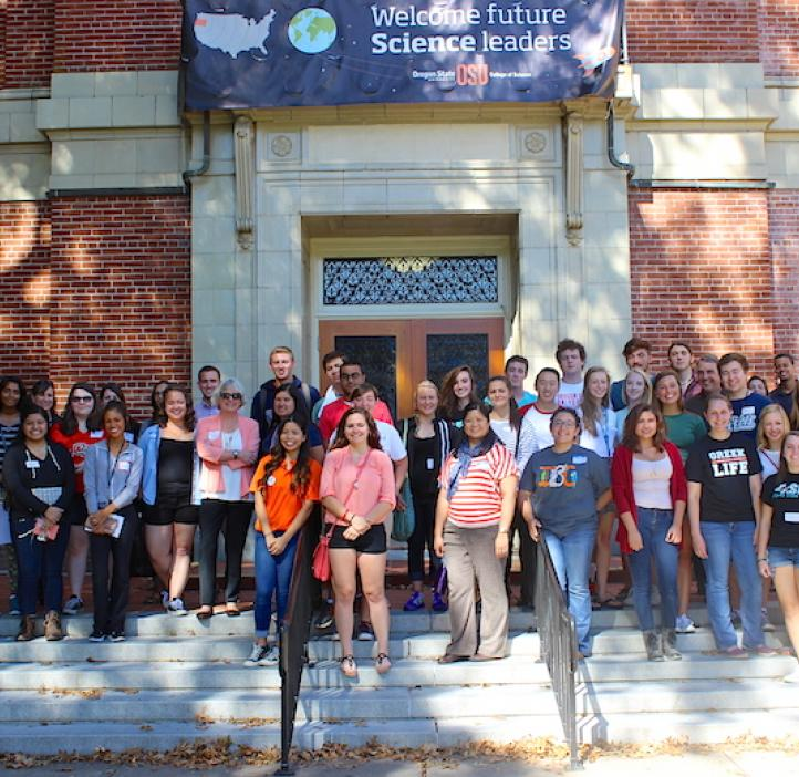 Integrative Biology students and faculty standing on the steps of Kidder Hall