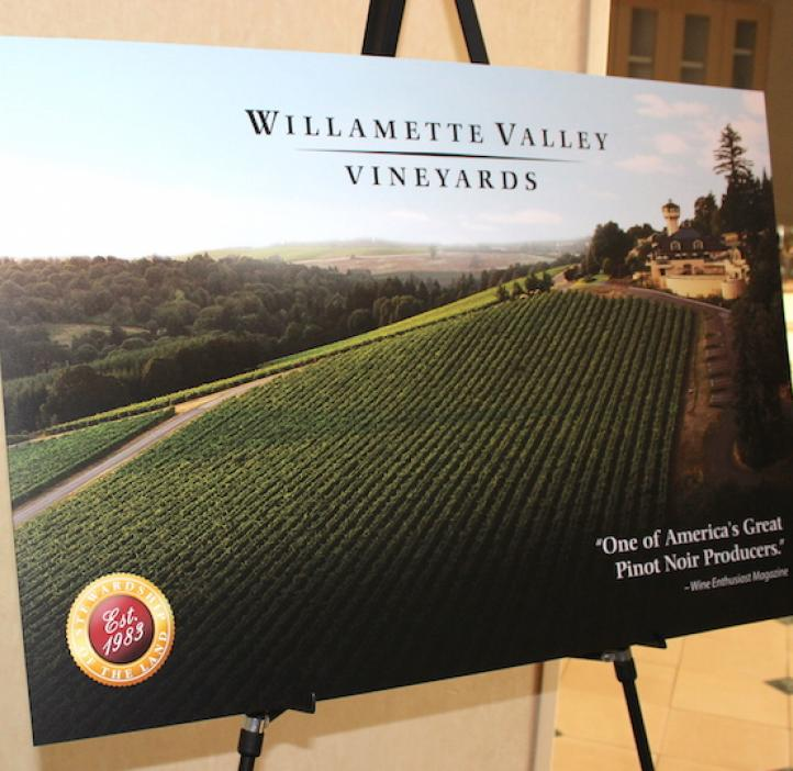 Willamette Valley Vineyards poster on display