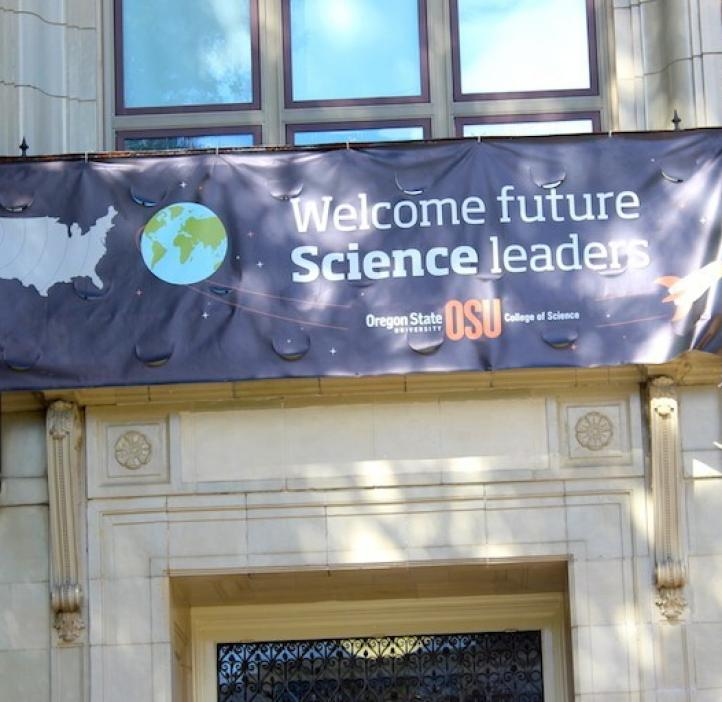 college of science banner above Kidder Hall entryway
