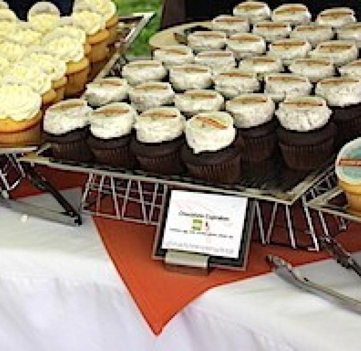 cupcake display sitting on table