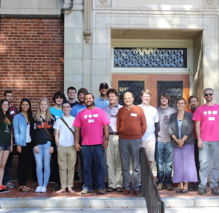 math students and faculty on the steps of Kidder Hall