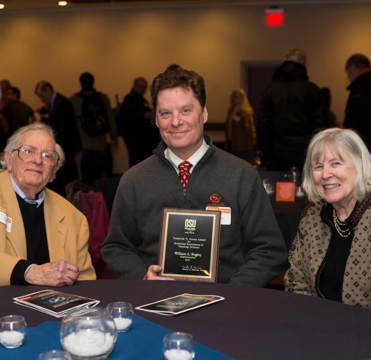 Fred Horne with wife Clara and Fred Horne Award winner Bill Bogley at the 2017 College of Science Awards