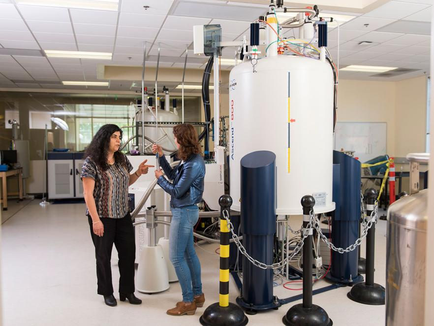 Elisar Barbar and student in NMR lab