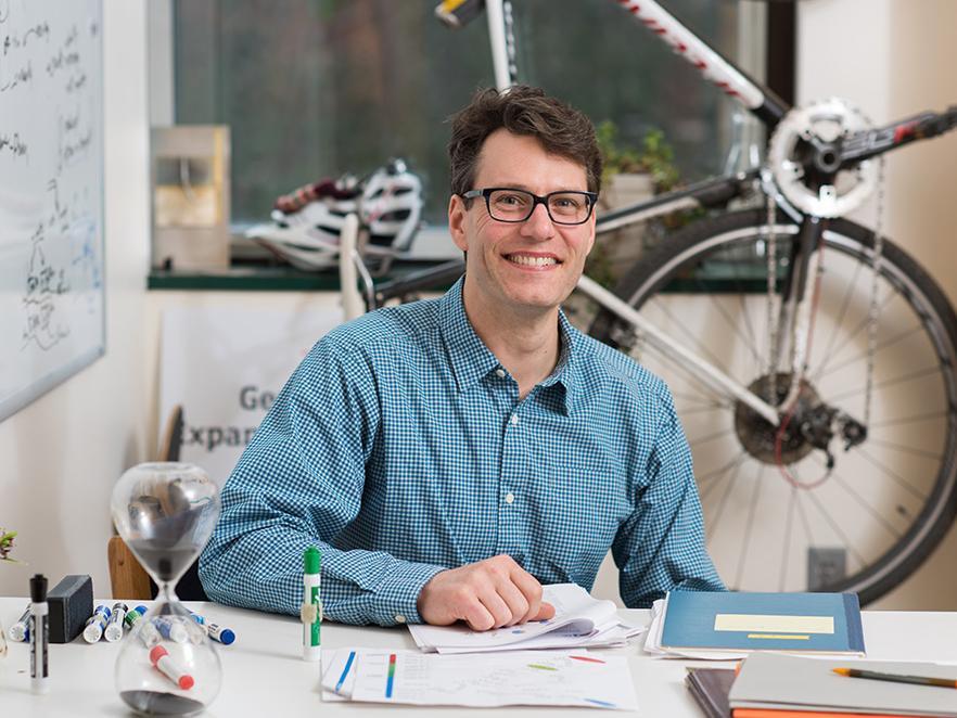 Ryan Mehl sitting in office space