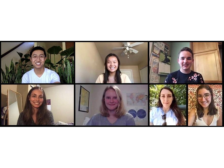 Biochemistry Club officers in zoom call.