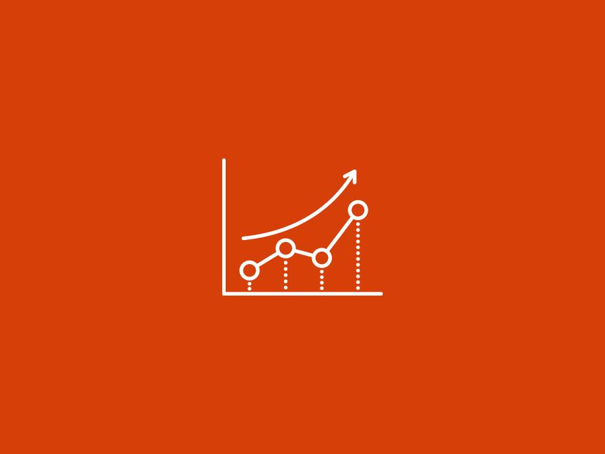 Graph icon above orange backdrop.