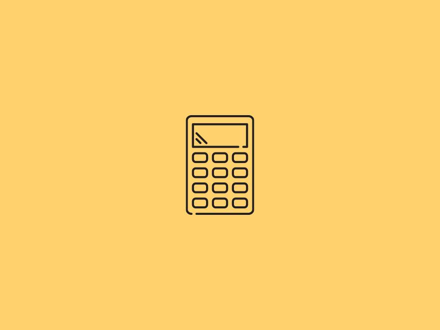Calculator icon above a yellow backdrop.
