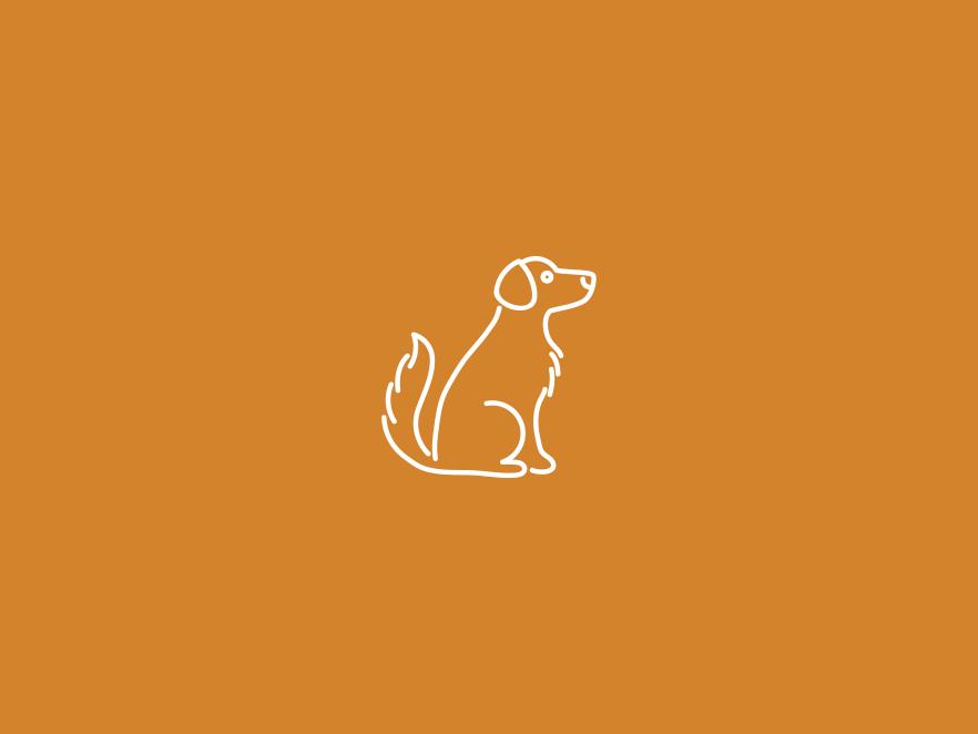 Dog icon above a burnt orange backdrop.