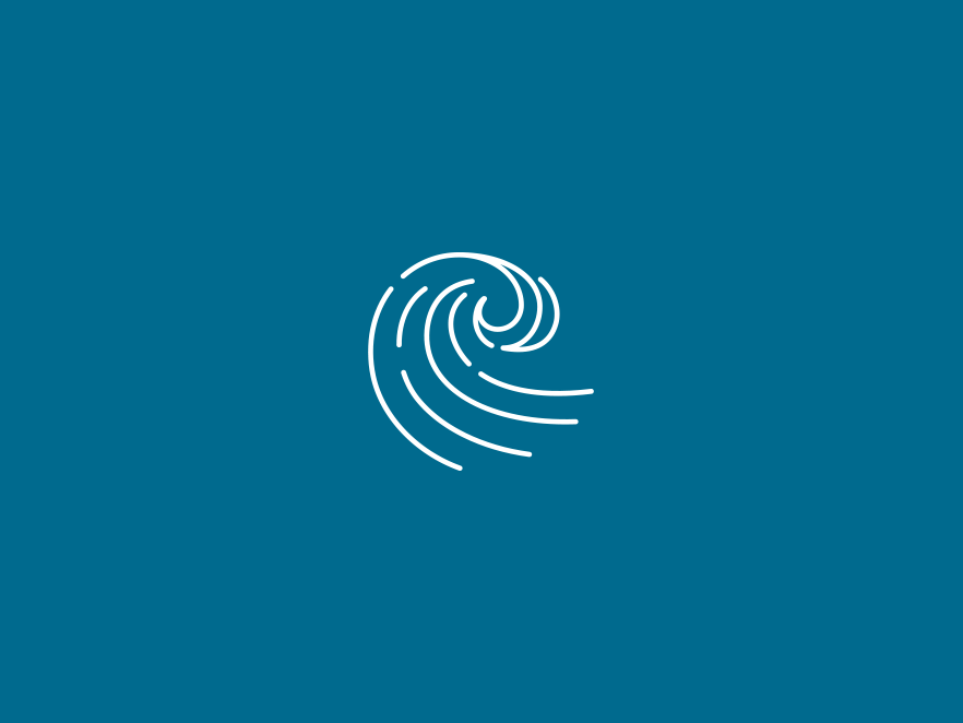 Wave icon above a blue backdrop.