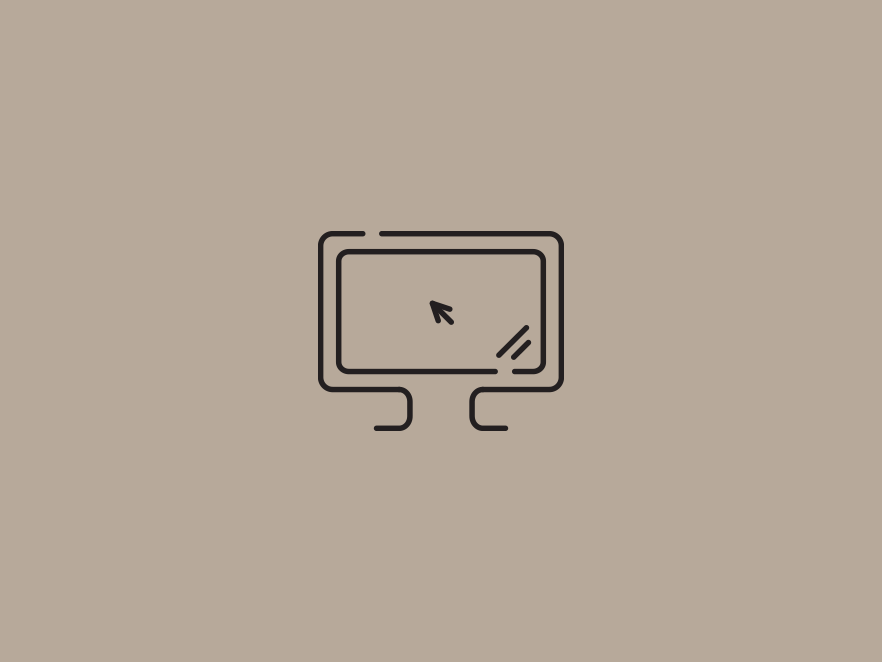 Monitor icon above a grey backdrop.